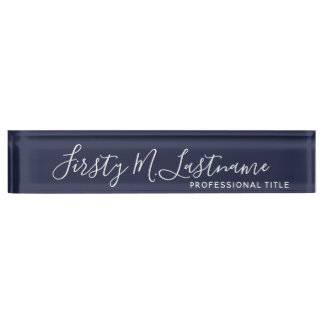 Name and Title Calligraphy - CAN EDIT navy COLOR Name Plate