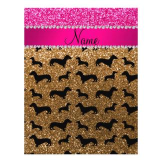 Name gold glitter dachshunds pink glitter 21.5 cm x 28 cm flyer