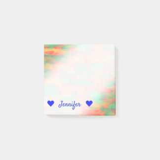 Name + Green, Red Watercolor-Like Abstract Pattern Post-it Notes