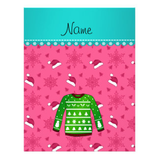 Name green ugly christmas sweater pink santa hats 21.5 cm x 28 cm flyer