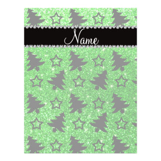 Name lime green glitter christmas trees stars personalized flyer