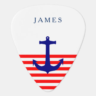 Name Nautical Navy Blue Anchor on Red Stripe Guitar Pick