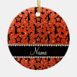 Name neon orange glitter stars cheerleading christmas ornament