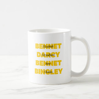Name of Main Characters from Pride and Prejudice Coffee Mug