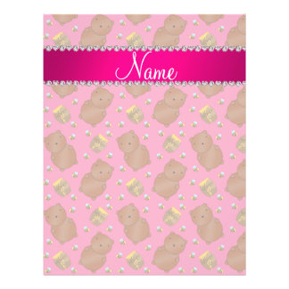 """Name pink bears honeypots bees pattern 8.5"""" x 11"""" flyer"""