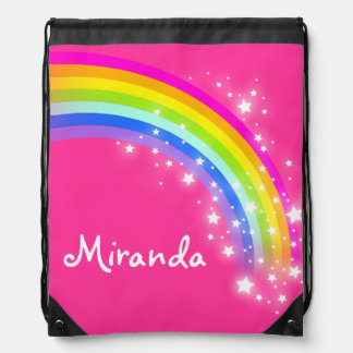 Name pink rainbow stars drawstring bag