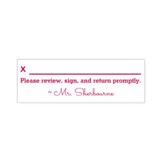 "Name + ""Please review, sign and return promptly."" Self-inking Stamp"