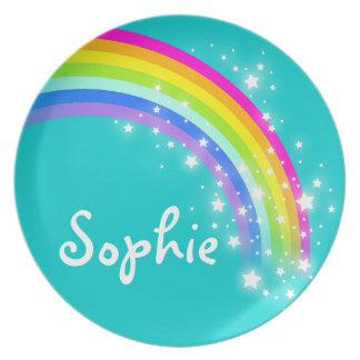 Name rainbow aqua Sophie girls kids plate