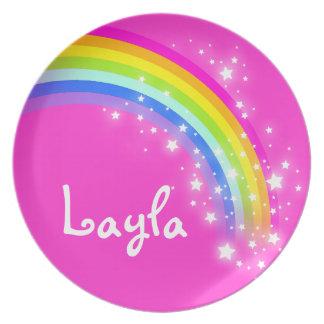 Name rainbow Layla pink girls kids plate
