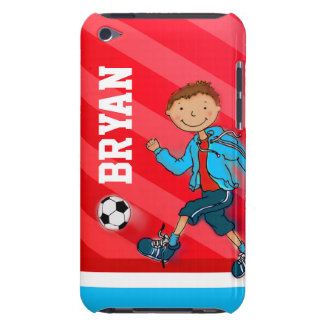 Name red sports soccer boy ipod touch case