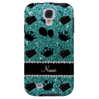 Name turquoise glitter crowns balloons cake galaxy s4 case