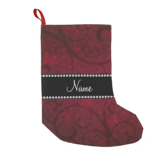 Name vintage burgundy swirls and butterflies small christmas stocking