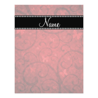 Name vintage red swirls and butterflies personalized flyer
