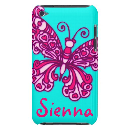 Named (6 letter) butterfly aqua pink ipod case barely there iPod covers