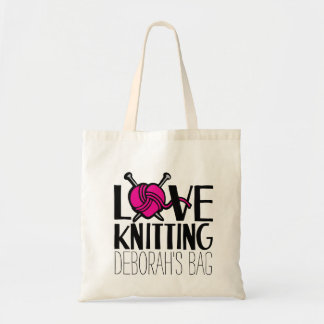 Named love knitting pink ball of wool bag