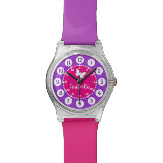 Named pink purple numbered watch