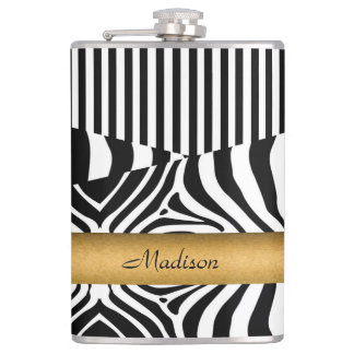 Named Zebra and Stripes Hip Flask