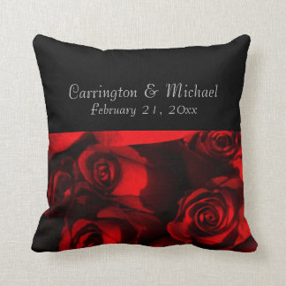 Names/Anniversary - Crimson Rose Bouquet [b] Throw Pillow