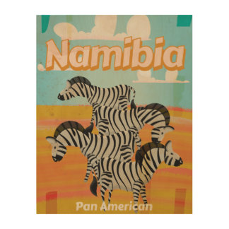 Namibia Vintage Travel Poster Wood Prints