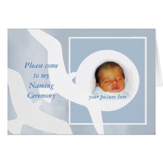 Naming ceremony invitation, custom card, birds. card
