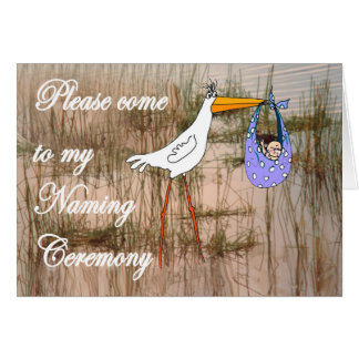 Naming Ceremony Invitation, stork and baby. Card