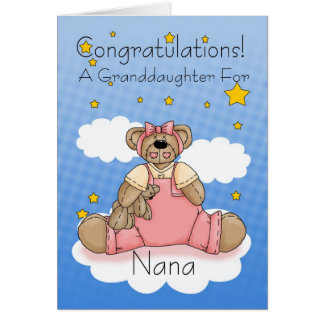 Nana New Baby Girl Congratulations Card