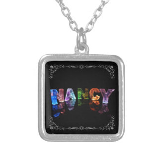 Nancy  - The Name Nancy in 3D Lights (Photograph) Silver Plated Necklace