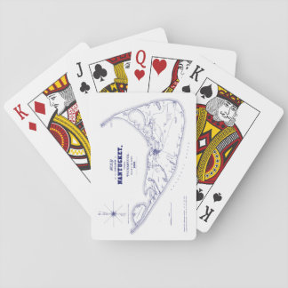 Nantucket Island MA Vintage Map Navy Blue Playing Cards