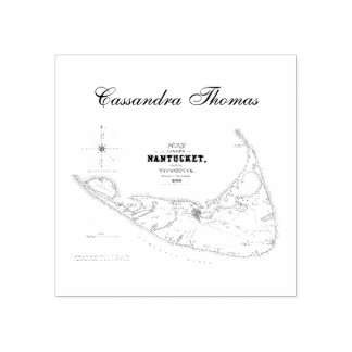 Nantucket Island MA Vintage Map Navy Blue Rubber Stamp