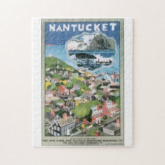 Nantucket Vintage Travel Poster Artwork Jigsaw Puzzle