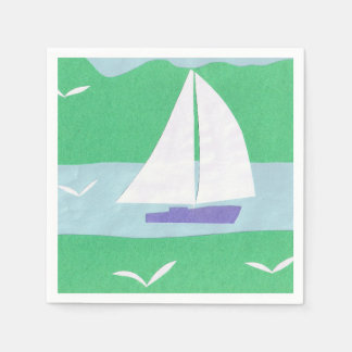 Napkins with a White Sailboat Design Disposable Serviette
