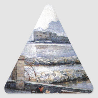 Naples. Enbankment. by Vasily Surikov Triangle Sticker