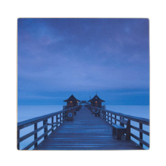 Naples Pier, dawn Wood Coaster