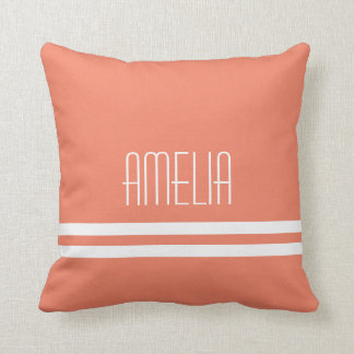 Narrow Stripes Name Monogram White Peach Cushion