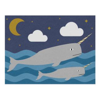 Narwhal Night Swim Postcard