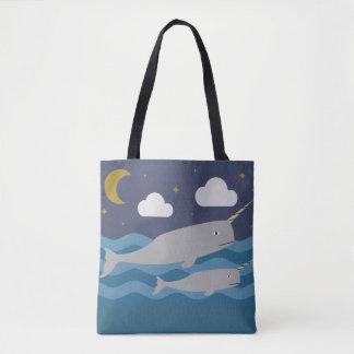 Narwhal Night Swim Tote Bag