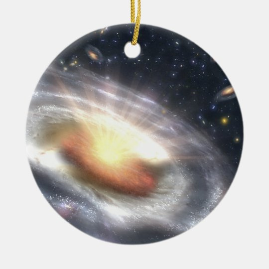 Nasas quasar black hole round ceramic decoration zazzle for Decoration hole