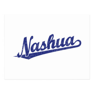 Nashua script logo in blue distressed postcard