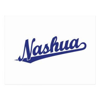 Nashua script logo in blue postcard