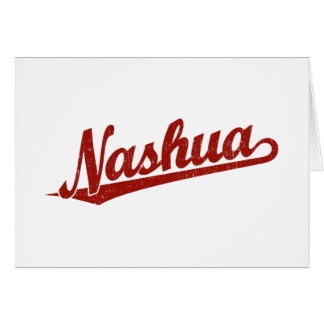 Nashua script logo in red distressed card