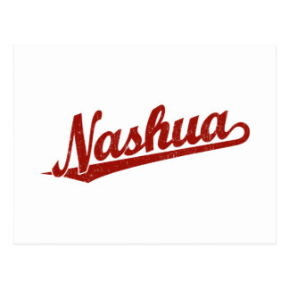Nashua script logo in red distressed postcard