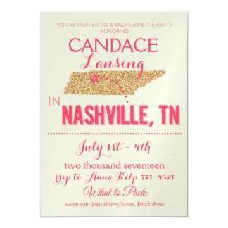 Nashville Gold Bachelorette Party Invitation