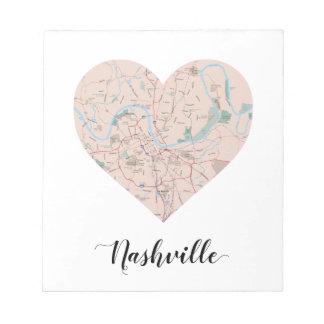 Nashville Heart Map Notepad