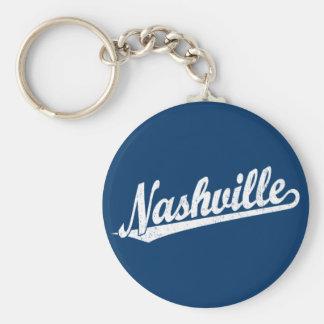 Nashville script logo in white distressed key ring