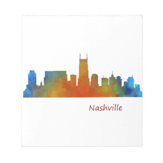 Nashville Tennessee watercolor Skyline art v1 Notepad