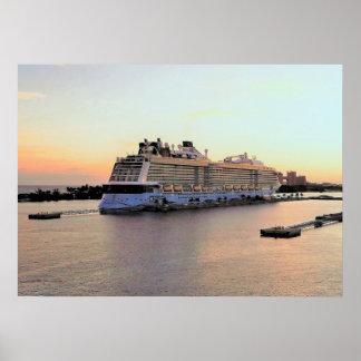Nassau Harbor Daybreak with Cruise Ship Poster