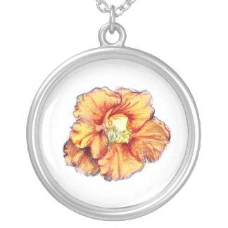 Nasturtium Flower Silver Plated Necklace