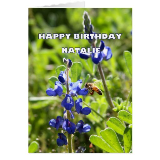 Natalie Texas Bluebonnet Happy Birthday Greeting Cards