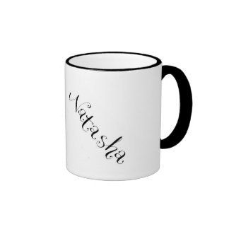 Natasha mug in black and white
