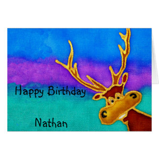 Nathan, Happy Birthday silly stag card